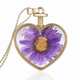 $enCountryForm.capitalKeyWord Australia - Fashion Romantic Sunflower Dried Necklace Pendant Plant Heart Specimens Flower Inside Crystal Necklace Frame Jewelry