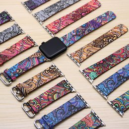 Wholesale Printing Style Genuine Leather Band Wristband Replacement For Apple Watch Series Wrist Strap With Adapters Bands For mm mm