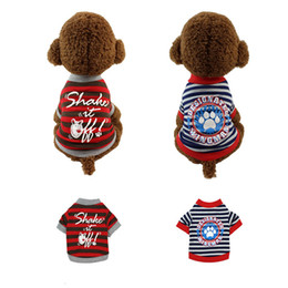 blue pet supplies Australia - Summer Pets Clothes Cotton Shake Letters Vavy Striped Foot Printing T-Shirt For Dogs Cats Clothes Small Puppy Clothing Apparel Supplies 6.5
