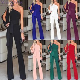 one shoulder long jumpsuit 2019 - One Shoulder Boot Cut Long Sleeve Jumpsuit Women Sexy Solid Once Piece Rompers Womens Jumpsuit with Sashes FS4246 cheap