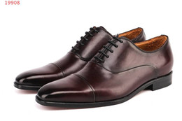 American Leather Shoes Australia - 2019 new European and american style business leather shoes new international brands coffee flat men shoes