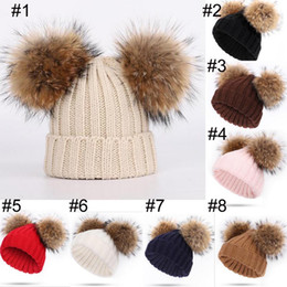 db7cc2ad2e49a 8-color baby kids Beanie Hat Solid Color Racoon Ball pop Crochet Hat baby  kids knitted Winter Warm Ears Beanie caps