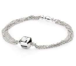 $enCountryForm.capitalKeyWord UK - 925 Sterling Silver Pan Bracelet Multi Strand One Clip Station Snake Chain Bracelet Bangle Fit Bead Charm Diy Jewelry