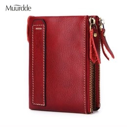 $enCountryForm.capitalKeyWord Australia - Muurdde Fashion Vintage Genuine Leather Women Wallets Female Bifold Women's Rfid Wallet Double Zipper Design Coin Purse Pockets