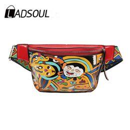 $enCountryForm.capitalKeyWord Australia - LADSOUL New Women Waist Pack Ethnic Cute Funny Personality Belt Bag PU Leather Graffiti Chest Handbag Colorful Shoulder Belt