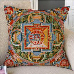 "$enCountryForm.capitalKeyWord Australia - 18"" Tibetan Buddhism Mandala Wall Painting Art Worship Decorative Pillow Case Mysterious Antique Buddhist Cultural Cushion Cover"