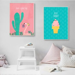canvas prints for kids room Australia - Cartoon Cactus And Coco Nut Tree Canvas Art Painting Nursery Wall Art Poster Prints Modular Picture for Kids Children Room Decor