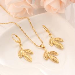 $enCountryForm.capitalKeyWord Australia - Dubai India Africa Romantic bride Sets gold leaf necklace drop Ear ring earrings Jewelry Set for women Wedding Bijoux gifts