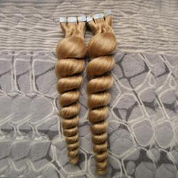 $enCountryForm.capitalKeyWord Australia - 80pcs lot virgin brazilian boose wave tape in human hair extensions pu Wave Tape in Hair Extensions Adhesive Tape Remy Human Hair blonde