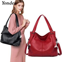 Large Black Shoulder Bag Leather Australia - Yonder Brand Fashion Women's Shoulder Bag Female Genuine Leather Handbags Ladies Bag High Quality Large Tote Bag Black red gray J190614