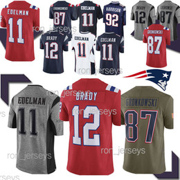 12 camisetas de Tom Brady New Patriot 11 Julian Edelman 87 camiseta nueva de Rob Gronkowski 2019 de calidad SUPERIOR on Sale