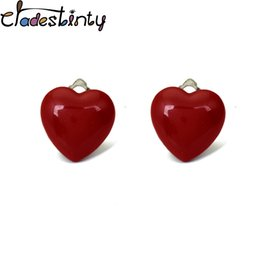 $enCountryForm.capitalKeyWord Australia - Chadestinty Heart Earrings For Women Simple Red White Resin Ear Clip Without Piercing Romantic Jewelry No Hole Cuff Earring