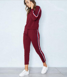 women s fashion pants suits Australia - Women Wine red Two Piece Outfits Long Sleeve Zip Jacket Coat and Legging Pants Fends Brand Tracksuit Streetwear Fashion Suit S-XL
