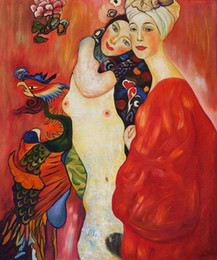 $enCountryForm.capitalKeyWord NZ - Gustav Klimt Fulfillment - Girl Friends High Quality Handpainted HD Print Famous Abstract Portrait Art Oil Painting Home Deco On Canvas gs01