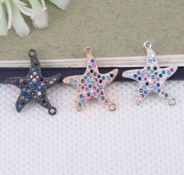 Micro Pave Connectors Australia - 10pcs Metal Copper Micro Pave CZ Starfish connector Beads in 3 colors For Bracelet Jewelry Making