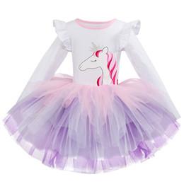 spring carnival 2019 - Girls Princess Party Wear Dresses vestido unicornio Dresses Baby Kids Carnival Costume Children Clothing Unicorn Birthda