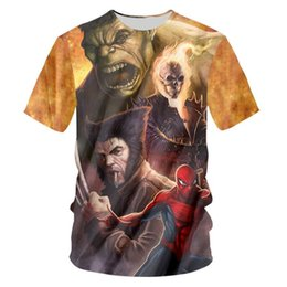 hulk printed t shirts Canada - Newest Style Hot Fashion Cartoon Hulk and Spider Man T-shirt 3D Print Men Womens Unisex Summer Round Collar Short Sleeve Casual Tops K864
