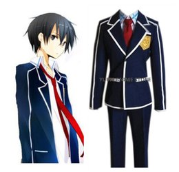 sword art kirito cosplay costume Australia - Anime Sword Art Online SAO Kirigaya Kazuto Kirito School Uniform Coat Shirt Pants Anime Outfit Cosplay Costumes