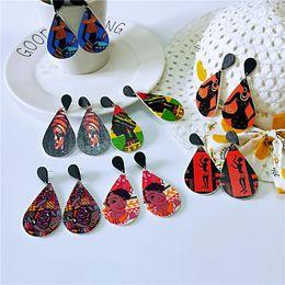 wooden earrings printed African head drop-shaped colored earrings