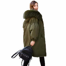 zipper buds Canada - 2018 Winter New Bud Sleeve Thicken Down Jackets Large Raccoon Fur Women's Fashion Down Coats Female Loose Parkas Outerwears