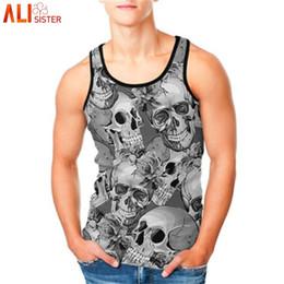 bce0470ea8e Alisister Plus Size Beach Tank Top Men 3d Skull Print Punk Vest Male Female  Sleeveless Bodybuilding Fitness Undershirts Summer  136451