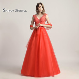 $enCountryForm.capitalKeyWord Australia - Luxury A-Line Beading Coral Tulle Red Prom Party Dress Elegant Backless Vestidos De Festa Evening Occasion Backless Quinceanera Gown LX426