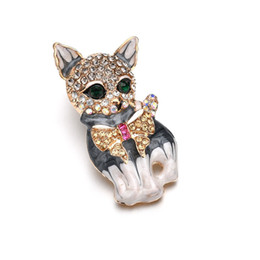 wholesale cat suits UK - Brown Cat Animal Brooches Banquet Vintage Silver Green Crystal Eye Zinc Alloy Quality Suits Broches Pins Scar b484