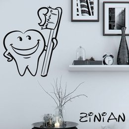 Kids Bathroom Wall Decor Australia - Bathroom Decor Stickers Cool Tooth Brush Wall Decals Muraux Waterproof Tile Decorate Kids Room Vinyl Sticker Dental Clinic