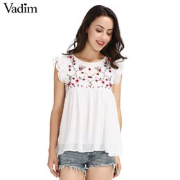 cute puppets UK - Vadim's Sweet Floral Embroidery Folded Crooked Shirt Cute Sleeveless Vintage Puppet Blouse Ladies Summer Casual Tops Wt418 Y19071101