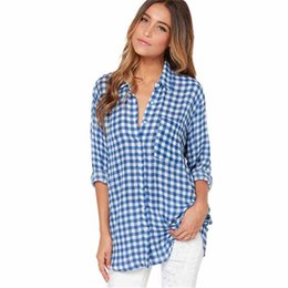 blue plaid shirt woman NZ - 2017 Hot Sale Women Blouses Long Shirts Single Breasted Plaid Cotton Shirt Wild Casual Streetwear Blue Shirt Plus Size Blouse