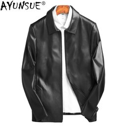 real motorcycle jackets Australia - AYUNSUE Genuine Leather Jacket Men Real Sheepskin Coat Spring Short Motorcycle Jacket Man Korean Veste En Cuir Homme KJ1457
