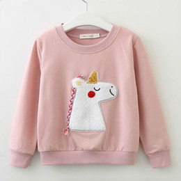 $enCountryForm.capitalKeyWord NZ - New Spring and Autumn Girls Jumper Kids Unicorn Pattern Cotton Pullover Fashion Kids Clothes Girls Top