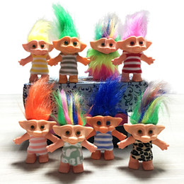 trolls baby clothes Canada - 10cm Troll Doll Silicone Indian Hair Boy Ugly Baby Toy 80's Nostalgic Classic Clothes Troll Doll Factory Direct
