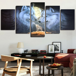framed wolf wall decor Australia - 5 Panels White Wolf Couple Painting Moon Artworks Canvas Wall Art for Home Wall Decor Abstract Poster Canvas Print Oil Painting
