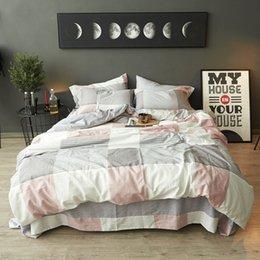 Ingrosso 100% cotone moda stampato set biancheria da letto luce lusso copripiumino set lenzuolo federe matrimoniale queen size king 3 / 4pcs