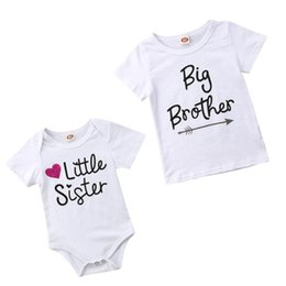 4d2631b267 Family Matching Kids Baby Little Sister Short Sleeve Letters Rompers  Bodysuit Big Brother Cotton T-shirt Tops Kids Boys Clothing