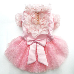 coloured tutus Australia - Pet Dog Wedding Dress Big Bow Lace Tutu Cat Puppy Princess Dresses Skirt Party Apparel 5 Sizes 4 Colours