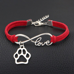 Wholesale Paw Print Australia - Designer Silver Plated Infinity Love Dog Paw Print Heart Hollow Charm Bracelet Red Leather Rope Wrap Cuff Jewelry Fashion Gift For Women Men