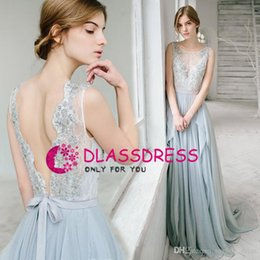 $enCountryForm.capitalKeyWord NZ - 2019 Sexy Cheap Country Light Sky Blue Evening Dress Bridesmaid Dresses Backless Illusion Lace Long Plus Size Backless Party Dress Custom