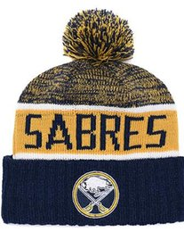 embroidered knit hats Australia - Buffalo Sabres Ice Hockey Knit Beanies Embroidery Adjustable Hat Embroidered Snapback Caps Orange White Black Stitched Hat One Size 03