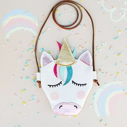 $enCountryForm.capitalKeyWord Canada - Girls Unicorn Messenger Bag Pu Leather Crossbody Cartoon Cute Kids Mini Shoulder Bag children Boutique gifts