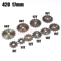 quad cylinder UK - 420 10 -19 10t 11t 19tooth 17mm Engine Front Sprockets For 50cc 70cc 90cc 110cc Scooter Motorcycle Bike Atv Quad Go Kart Moped