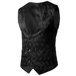 $enCountryForm.capitalKeyWord UK - Mens Gentleman Formal Slim Fit Double Breasted Dress Suit Vest 2018 Fashion Wave Print Wedding Party Waistcoat for Business Man