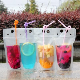 100pcs Clear Drink Pouches Bags frosted Zipper Stand-up Plastic Drinking Bag with straw with holder Reclosable Heat-Proof FY4061 on Sale