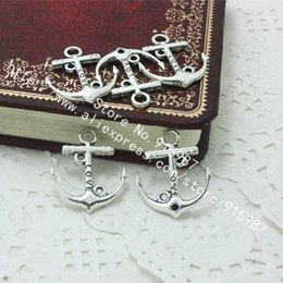 Discount antique charms nautical - Sweet Bell Wholesale 200pcs lot 19*22mm Antique Silver Metal Alloy Nautical Anchor Charms Jewelry love Anchor Pendants D