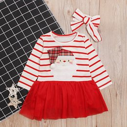 new baby girls designs dress Canada - New Christmas Style Striped Red Girl Princess Dresses Long Sleeve Santa Claus Design Baby Kids Girl Dress