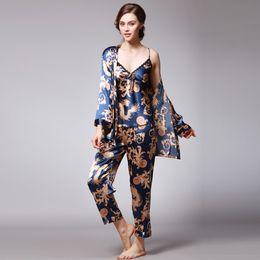 Women pajamas three piece online shopping - Fashion Women Sleepwear Simulation Silk Print Pajamas Sexy Nightwear Three Piece Long Sleeved Trousers Camisole pijama gecelik