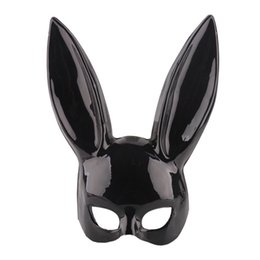 $enCountryForm.capitalKeyWord Australia - Easter Cute Mask Halloween Masquerade Dress Up Mask Long Ear Masks Black White Upper Half Face Ball Party Masks