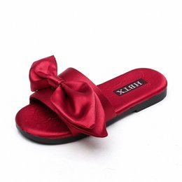 Girls Rubber Bow Shoes Australia - Baby Silk Big bow sandals 2019 summer Fashion Kids Slipper children girls shoes Flat bottom sandals