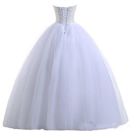$enCountryForm.capitalKeyWord UK - Beaded Sweetheart Tulle Ball Gown Wedding Dress 2019 White Ivory Floor Length Bridal Gowns New Wedding Dresses Vestidos De Novia Cheap